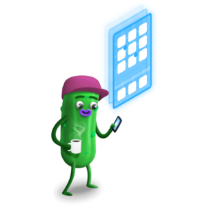 cartoon pickle looking at a cellphone